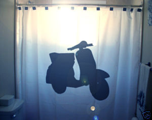 SHOWER CURTAIN Mod Scooter Motorcycle Motor bike cool