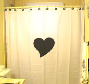 SHOWER CURTAIN romance I Love You Heart simple romantic