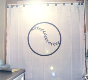 SHOWER CURTAIN ball Baseball game play bat glove swing