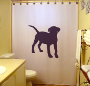 SHOWER CURTAIN Dog Pitbull Terrier pit bull guard puppy