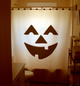 Halloween SHOWER CURTAIN Jack O Lantern Pumpkin scary