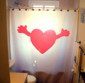 SHOWER CURTAIN Heart Hug romance Lovers red I love You