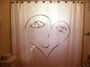 SHOWER CURTAIN romance valentine's day I LOVE YOU heart