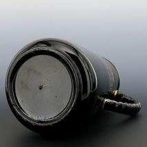 "Antique English Black Jackfield Pottery 8 1/4"" Pitcher Gold Band Reg Mark 1872 image 5"