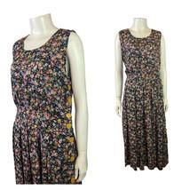 1990s Jonathan Logan Sleeveless Dress / Floral Button Up Rayon Shirt Dre... - $48.75