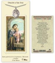 San José - Tarjeta de oración con medalla y cadena - Peltre