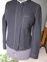 Vince Knit Dark Blue Fitted Wool Jacket SZ 10 NWT $395 - $128.69