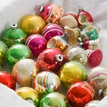 Lot 29 Shiny Brite Mica Stencil Indents Striped Christmas Ornaments - $128.69