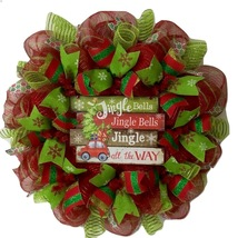 Jingle Bells Christmas Wreath Handmade Deco Mesh - $89.99