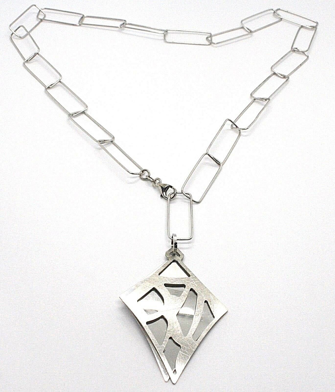 SILVER 925 NECKLACE, CHAIN RECTANGULAR, DOUBLE RHOMBUS OVERLAID, SATIN