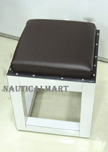 NauticalMart Wooden Square Ottoman Side Table - Brown Stool - $699.00