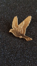 gold flying dove, bird with clip on rear Pin ,Badge / tie pin unisex gift