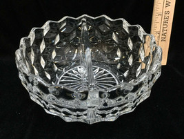 """Fostoria American Serving Dish Bowl Divided Clear Glass Round Cube 6"""" Vintage - $18.80"""