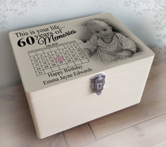Personalised solid pine white wooden memory box, this is your life 60th ... - $46.16+