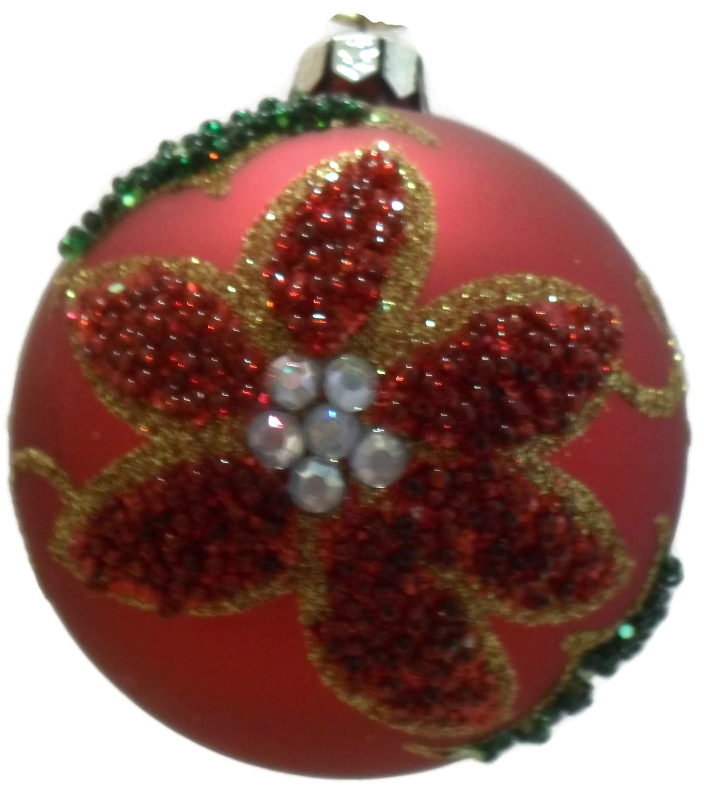 Christmas Mouth Blown Glass Ornament Set 3 Hand Decorated