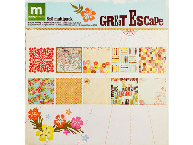 Making Memories 8x8 Inch Great Escape Specialty Paper Pack, 20 Sheets #32286