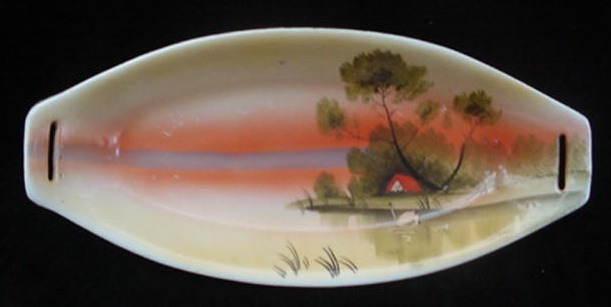 Old 6pc Japanese Hand Painted Pottery Nut Snack Dish Set