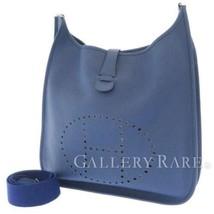 HERMES Evelyne 2 TGM Taurillon Clemence Blue Brighton Shoulder Bag #K Au... - $2,288.35