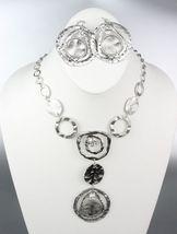 ARTISTIC Sculpted Silver Satin Metal Disk Rings CZ Crystals Drape Neckla... - $24.99