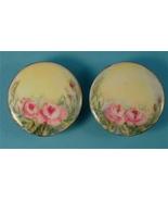 Pair Large Porcelain Antique Buttons, Hand Pain... - $30.00
