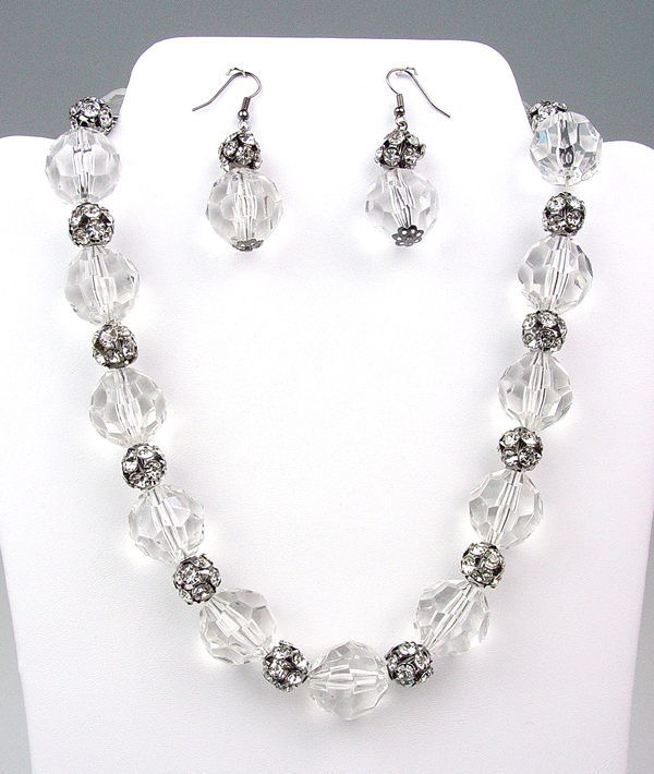 Primary image for Bejeweled Clear Lucite Crystals Rhinestone Balls Necklace Earrings Set