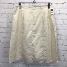 GAP Cream Linen Skirt Womans 2 Unlined Side Zipper New with Tags - $24.14