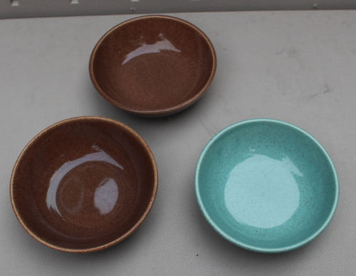 """Mid-Century Modern 3 6"""" Bowls Turquoise Blue + Brown Speckled"""