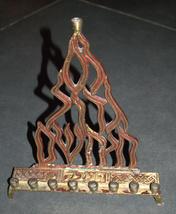 Judaica Menorah Hanukkah Vintage Israel Flame Nes Gadol Bronze Red Signed KL  image 3