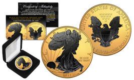2018 1 oz .999 Silver American Eagle US Coin 24K Gold Gilded w/ Black Ru... - $65.41
