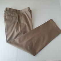 Polo Ralph Lauren Khaki Beige  Pleated Pants Mens 36 x 32 Cuffed Cotton - $29.69