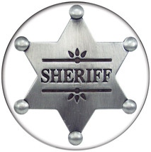 "1 BUTTON 3"" SHERIFF BADGE HALLOWEEN COSTUME PROP SAFETY PIN BACK - $6.92"