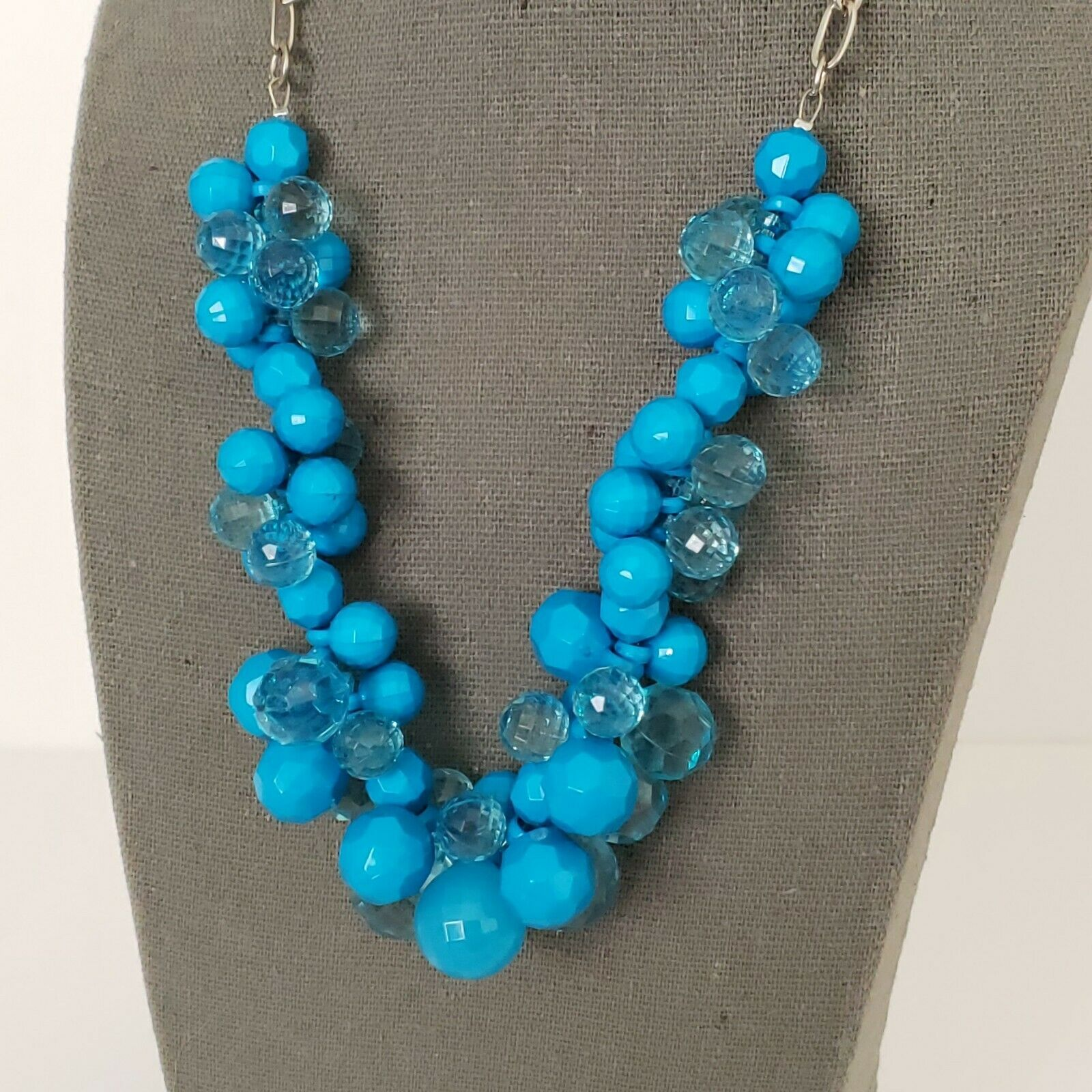 "Primary image for Blue Beaded Chunky Statement Necklace Silver Tone Hardware 18"" Adjustable"