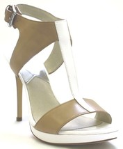 Women's Shoes Michael Kors Nanette Sandal T-Strap Sandals Leather Nude Optic - $109.99