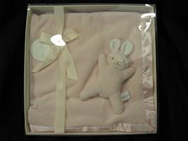 BABYSOFT BABY SOFT PINK PLUSH VELOUR CHAMOIS MINKY BLANKET SATIN BUNNY R... - $35.63