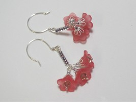 Flower Chain Cluster Earrings Pink Wedding Summer HC - $9.90