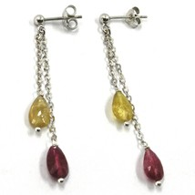 18K WHITE GOLD PENDANT EARRINGS, YELLOW AND PURPLE DROP TOURMALINE, TWO WIRES image 1