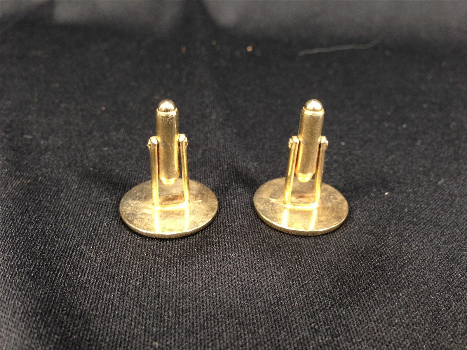 """Vintage Gold Colored Cufflinks Circle 3/4"""" Cuff Links"""