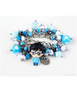 Yuuri Katsuki Chibi Figure Anime Bracelet, Silver, Blue, Kawaii Jewelry,... - $54.00