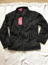ladies light weight Black Coat Jacket Caova Lined Padded Zipper Small Size P NEW - $18.98