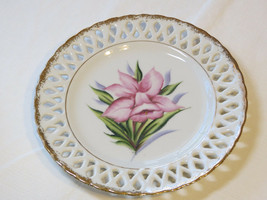 Decorative Wall plate with orchid flower art #% - $10.68
