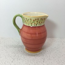"Pfaltzgraff Pistoulet Pitcher 7"" Tall, Jan Kolpen, Sunflower Trim, Yellow, Green - $11.88"