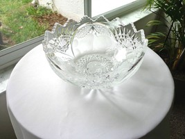 "Vintage Imperial Crystal Hand Cut Fruit Bowl 9""  c 1940 - $29.70"