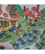 VINTAGE 1980's SMURF'S TWIN FITTED SHEET FOR KIDS BED OR USED AS FABRIC ... - $39.98