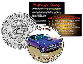 1971 HEMI CUDA CONVERTIBLE Expensive Auction Muscle Car JFK Half Dollar ... - $8.56