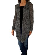 EILEEN FISHER PL Large gray marl pointelle hi-lo open front cardigan swe... - $28.71