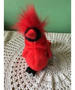 9 Inch Ty Beanie Baby Mac Red and Black Cardinal Fuzzy Top - $6.15