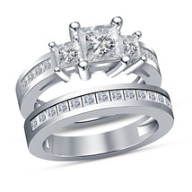 Princess Cut 3 Stone Ladies Wedding Bridal Ring Set White Gold Plated 92... - $93.99