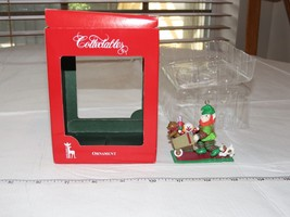 Santa's Pride Collectable Ornament Christmas Elf wheelbarrow puppy - $29.69