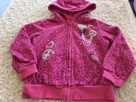 Children's Place Girls Pink Animal Print Hearts Silver Peace Signs Hoodie 4T - $7.38
