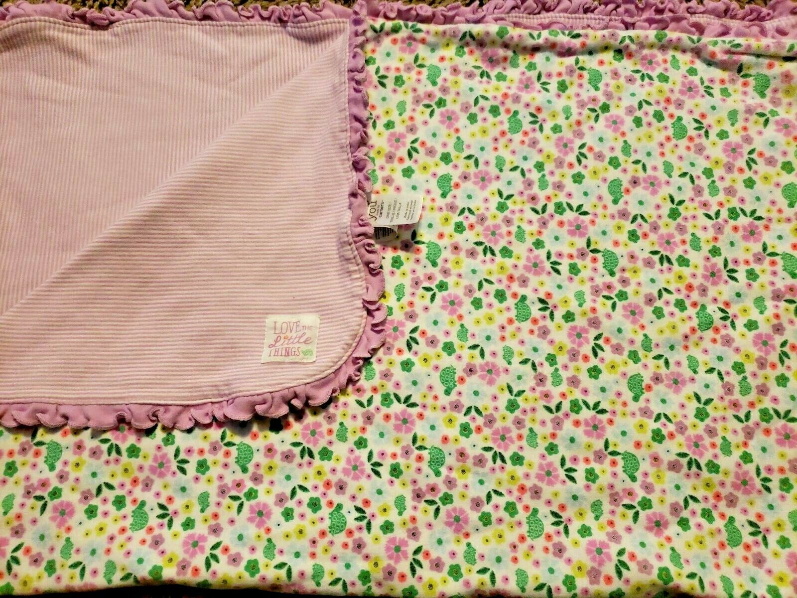 Primary image for Carters Just One You Baby Blanket Purple Love the Little Things Stripes Turtles